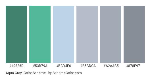 Aqua Gray - Color scheme palette thumbnail - #40826d #53b79a #bcd4e6 #b5bdca #a2aab5 #878e97