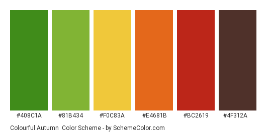 Colourful Autumn - Color scheme palette thumbnail - #408c1a #81b434 #f0c83a #e4681b #bc2619 #4f312a