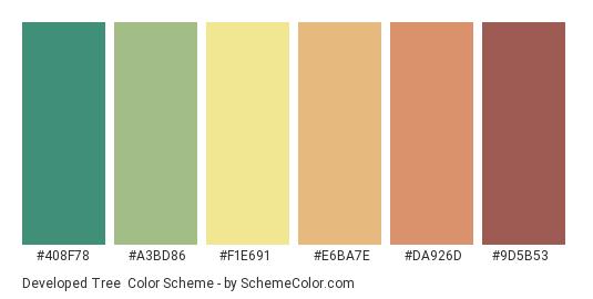 Developed Tree - Color scheme palette thumbnail - #408f78 #a3bd86 #f1e691 #e6ba7e #da926d #9d5b53