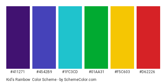 Kid's Rainbow - Color scheme palette thumbnail - #411271 #4542b9 #1fc3cd #01aa31 #f5c603 #d62226