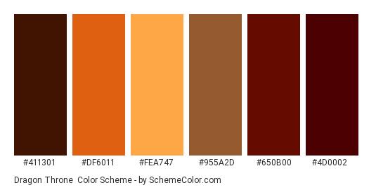 Dragon Throne - Color scheme palette thumbnail - #411301 #df6011 #fea747 #955a2d #650b00 #4d0002