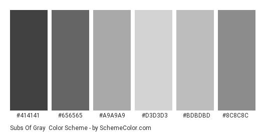 Subs of Gray - Color scheme palette thumbnail - #414141 #656565 #a9a9a9 #d3d3d3 #bdbdbd #8c8c8c