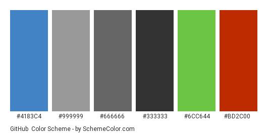 GitHub - Color scheme palette thumbnail - #4183c4 #999999 #666666 #333333 #6cc644 #bd2c00