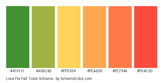 Love for Fall - Color scheme palette thumbnail - #419131 #A0B245 #FFD359 #FEA650 #FE7946 #FD4C3D