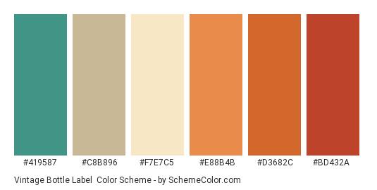 Vintage Bottle Label - Color scheme palette thumbnail - #419587 #c8b896 #f7e7c5 #e88b4b #d3682c #bd432a