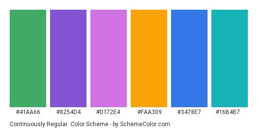 Continuously Regular - Color scheme palette thumbnail - #41aa66 #8254d4 #d172e4 #faa309 #3478e7 #16b4b7