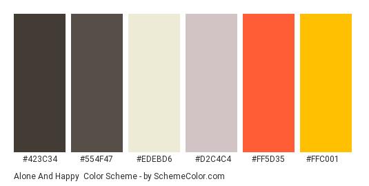 Alone and Happy - Color scheme palette thumbnail - #423c34 #554f47 #edebd6 #d2c4c4 #ff5d35 #ffc001
