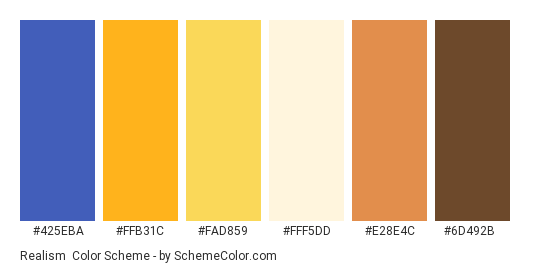 Realism - Color scheme palette thumbnail - #425eba #ffb31c #fad859 #fff5dd #e28e4c #6d492b