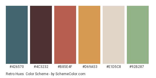 Retro Hues - Color scheme palette thumbnail - #426570 #4c3232 #b85e4f #d69a53 #e1d5c8 #92b287
