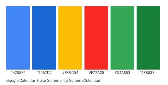 Google Calendar - Color scheme palette thumbnail - #4285F4 #1967D2 #FBBC04 #F72A25 #34A853 #188038