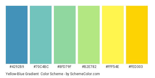 Yellow-Blue Gradient - Color scheme palette thumbnail - #4292b9 #70c4bc #8fd79f #b2e782 #fff54e #fed303