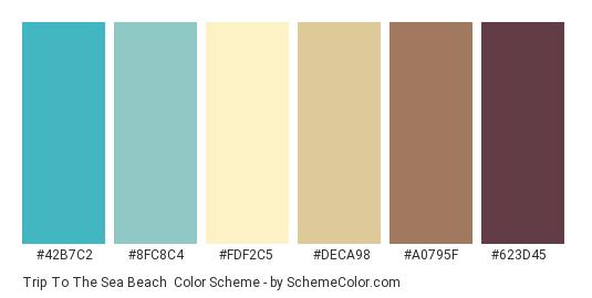 Trip to the Sea Beach - Color scheme palette thumbnail - #42b7c2 #8fc8c4 #fdf2c5 #deca98 #a0795f #623d45