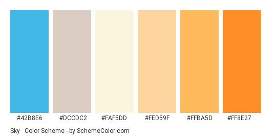 Sky & Sunset - Color scheme palette thumbnail - #42b8e6 #dccdc2 #faf5dd #fed59f #ffba5d #ff8e27