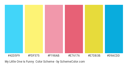 My Little One is Funny - Color scheme palette thumbnail - #42d5f9 #fdf375 #f198ab #e76176 #e7db3b #09acdd