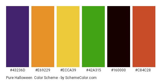 Pure Halloween - Color scheme palette thumbnail - #43236d #e69229 #ecca39 #42a315 #160000 #c84c28