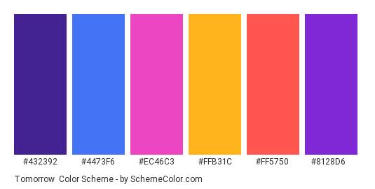 Tomorrow - Color scheme palette thumbnail - #432392 #4473F6 #EC46C3 #FFB31C #FF5750 #8128D6