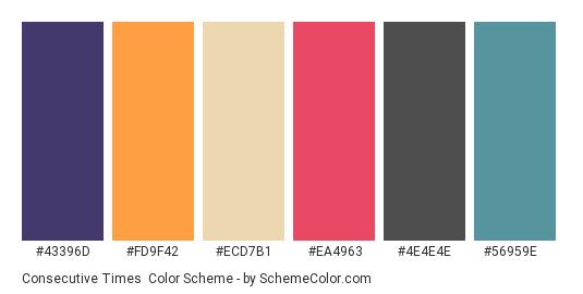Consecutive Times - Color scheme palette thumbnail - #43396d #fd9f42 #ecd7b1 #ea4963 #4e4e4e #56959e