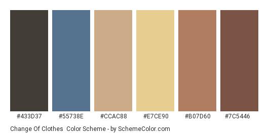 Change of Clothes - Color scheme palette thumbnail - #433d37 #55738e #ccac88 #e7ce90 #b07d60 #7c5446