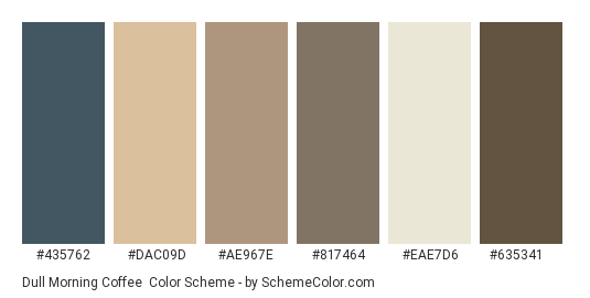 Dull Morning Coffee - Color scheme palette thumbnail - #435762 #dac09d #ae967e #817464 #eae7d6 #635341