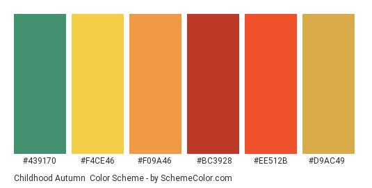 Childhood Autumn - Color scheme palette thumbnail - #439170 #f4ce46 #f09a46 #bc3928 #ee512b #d9ac49