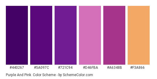 Purple and Pink - Color scheme palette thumbnail - #440267 #5a097c #721c94 #d46fba #a6348b #f3a866