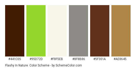 Flashy in Nature - Color scheme palette thumbnail - #441c05 #95d72d #f8f5eb #8f8b86 #5f301a #ae8645