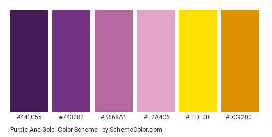 Purple and Gold - Color scheme palette thumbnail - #441c55 #743282 #b668a1 #e2a4c6 #ffdf00 #dc9200