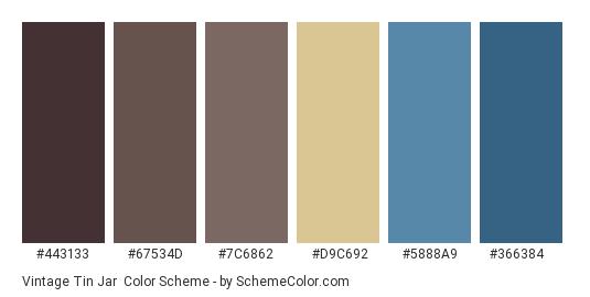 Vintage Tin Jar - Color scheme palette thumbnail - #443133 #67534d #7c6862 #d9c692 #5888a9 #366384