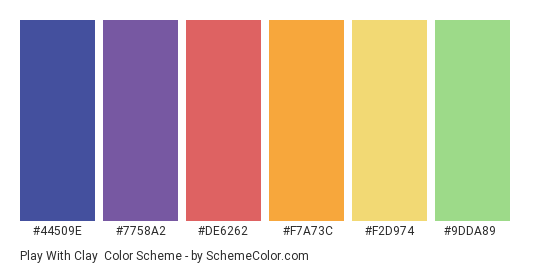 Play with Clay - Color scheme palette thumbnail - #44509e #7758a2 #de6262 #f7a73c #f2d974 #9dda89