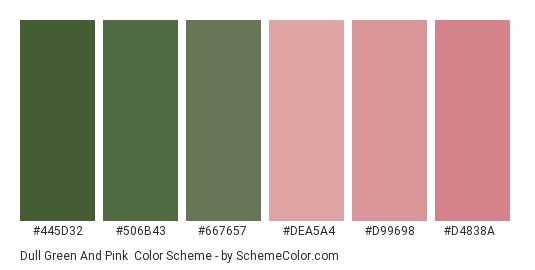 Dull Green and Pink - Color scheme palette thumbnail - #445d32 #506b43 #667657 #dea5a4 #d99698 #d4838a