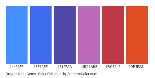 Dragon Nest Gems - Color scheme palette thumbnail - #4490ff #3f6cee #5147aa #bd6abb #bc3945 #de4e23