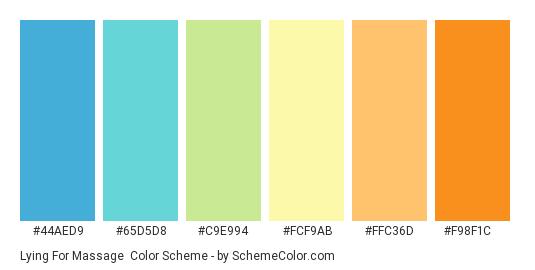Lying for Massage - Color scheme palette thumbnail - #44aed9 #65d5d8 #c9e994 #fcf9ab #ffc36d #f98f1c