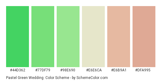 Pastel Green Wedding Color Scheme Green Schemecolor Com