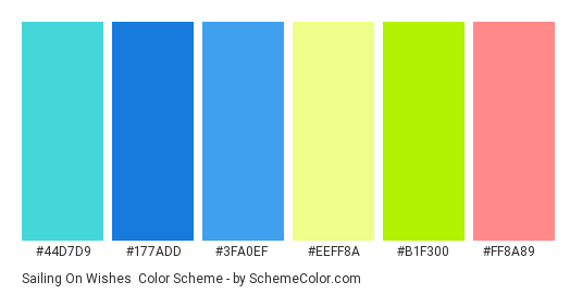 Sailing on Wishes - Color scheme palette thumbnail - #44d7d9 #177add #3fa0ef #eeff8a #b1f300 #ff8a89