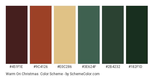 Warm on Christmas - Color scheme palette thumbnail - #451F1E #9C4126 #E0C286 #3E624F #2B4232 #182F1D