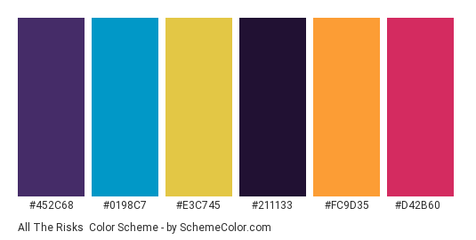All the Risks - Color scheme palette thumbnail - #452c68 #0198c7 #e3c745 #211133 #fc9d35 #d42b60