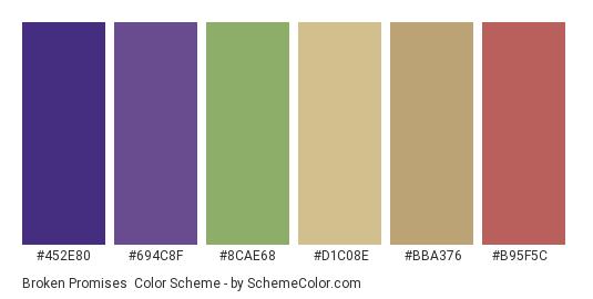 Broken Promises - Color scheme palette thumbnail - #452e80 #694c8f #8cae68 #d1c08e #bba376 #b95f5c