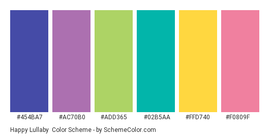 Happy Lullaby - Color scheme palette thumbnail - #454ba7 #ac70b0 #add365 #02b5aa #ffd740 #f0809f