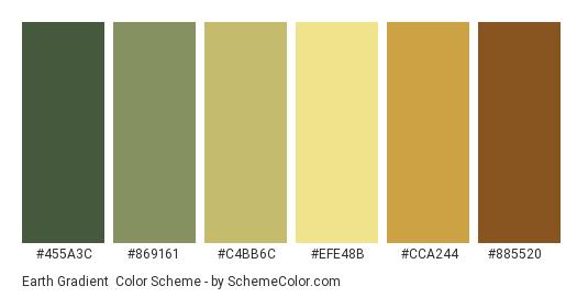 Earth Gradient - Color scheme palette thumbnail - #455A3C #869161 #C4BB6C #EFE48B #CCA244 #885520