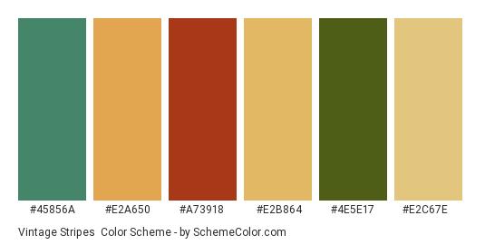 Vintage Stripes - Color scheme palette thumbnail - #45856A #E2A650 #A73918 #E2B864 #4E5E17 #E2C67E