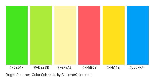 Bright Summer - Color scheme palette thumbnail - #45e51f #adeb3b #fef5a9 #ff5b63 #ffe11b #009ff7
