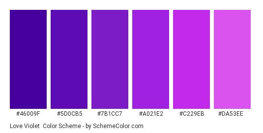 Love Violet - Color scheme palette thumbnail - #46009f #5d0cb5 #7b1cc7 #a021e2 #c229eb #da53ee