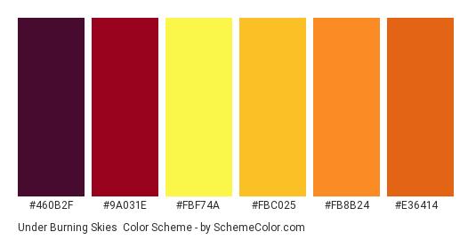 Under Burning Skies - Color scheme palette thumbnail - #460B2F #9A031E #FBF74A #FBC025 #FB8B24 #E36414