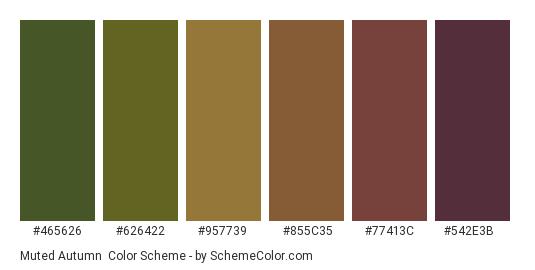 Muted Autumn - Color scheme palette thumbnail - #465626 #626422 #957739 #855c35 #77413c #542e3b