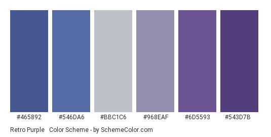 Retro Purple & Blues - Color scheme palette thumbnail - #465892 #546DA6 #BBC1C6 #968EAF #6D5593 #543D7B
