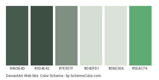 DeviantArt Web site - Color scheme palette thumbnail - #465b4d #3d4e42 #7e907f #d4dfd1 #dbe3d6 #5eac74