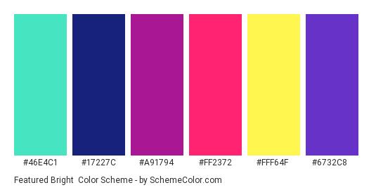 Featured Bright - Color scheme palette thumbnail - #46E4C1 #17227C #A91794 #FF2372 #FFF64F #6732C8