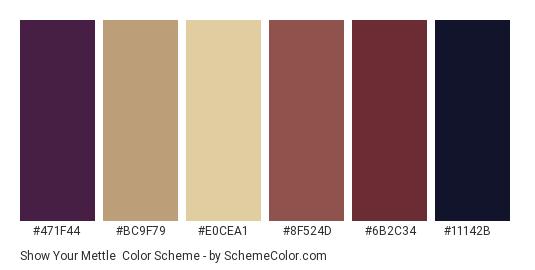 Show Your Mettle - Color scheme palette thumbnail - #471f44 #bc9f79 #e0cea1 #8f524d #6b2c34 #11142b