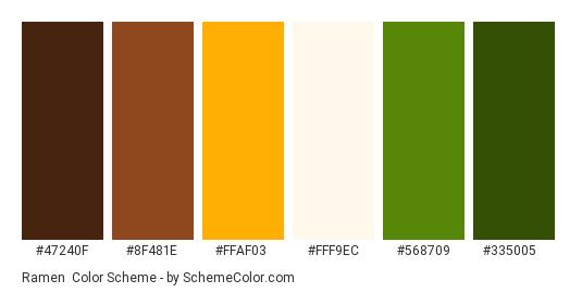 Ramen - Color scheme palette thumbnail - #47240F #8F481E #FFAF03 #FFF9EC #568709 #335005