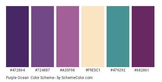 Purple Ocean - Color scheme palette thumbnail - #472864 #724887 #A35F98 #F9E5C1 #479292 #682861